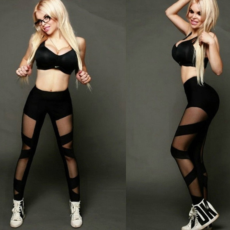 Ladies High Waist Mesh Women Leggings Fitness Breathable Push Up Leggings Women Quick Dry Plus Size Casual Leggins