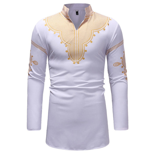 African Traditional Clothes Bazin Dress Male 3D Print Embroidery Full Sleeve Tops Shirt Bazin Riche Africa Dress for Man
