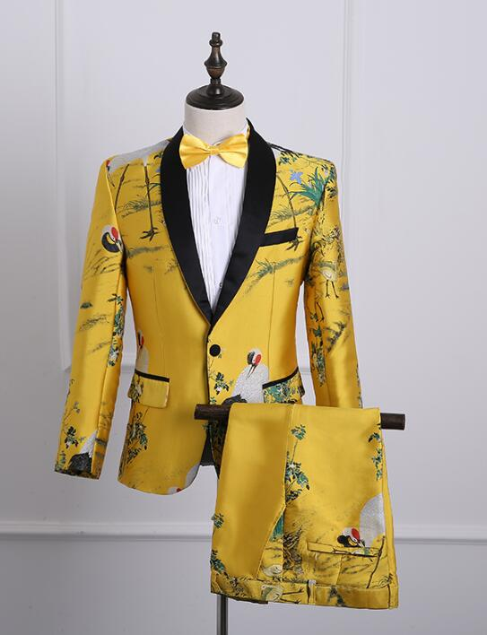 new arrival slim fashion men printing suit set with pants mens yellow suits wedding mens groom formal dress suit + pant