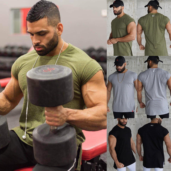 Men's Slim Singlet Bodybuilding Plain T Shirt Fitness  Men Short Sleeve Casual T-shirt Tee Shirt