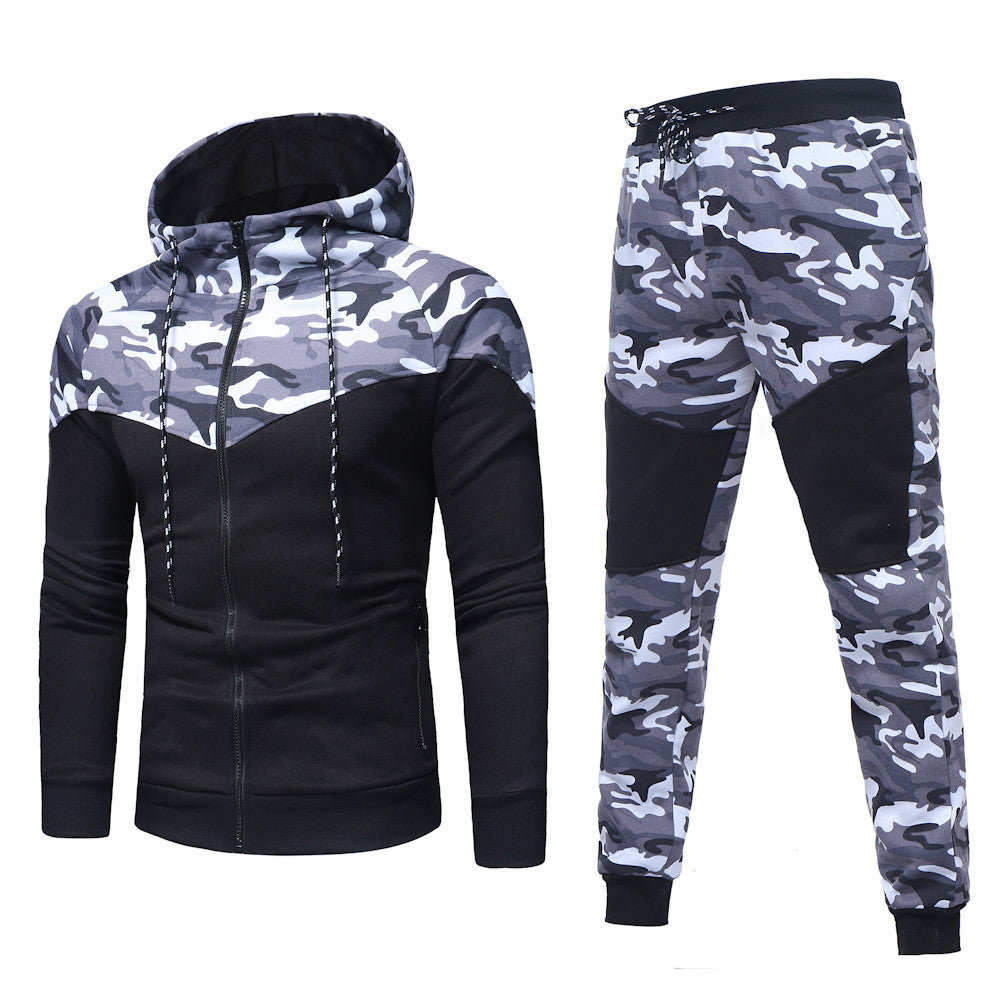 New Camouflage Printed Men Set Causal Patchwork Jacket Men 2Pcs Tracksuit Sportswear Hoodies Sweatshirt Pants Jogger Suit D
