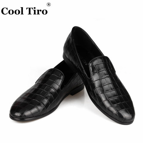 Crocodile pattern Men Loafers Smoking Slippers Men's Moccasins Genuine Leather Flats Formal Wedding Dress Shoes Casual
