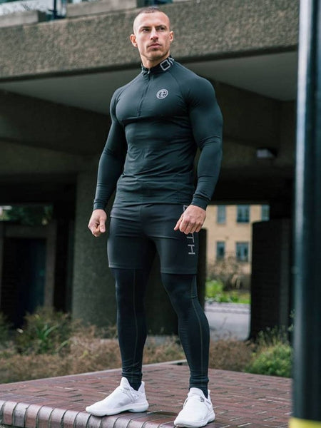 Men Brand Tracksuit Rash gard Kit Quick drying Men Gym Clothes Man Compression Underwear 3-piece Set Long Johns