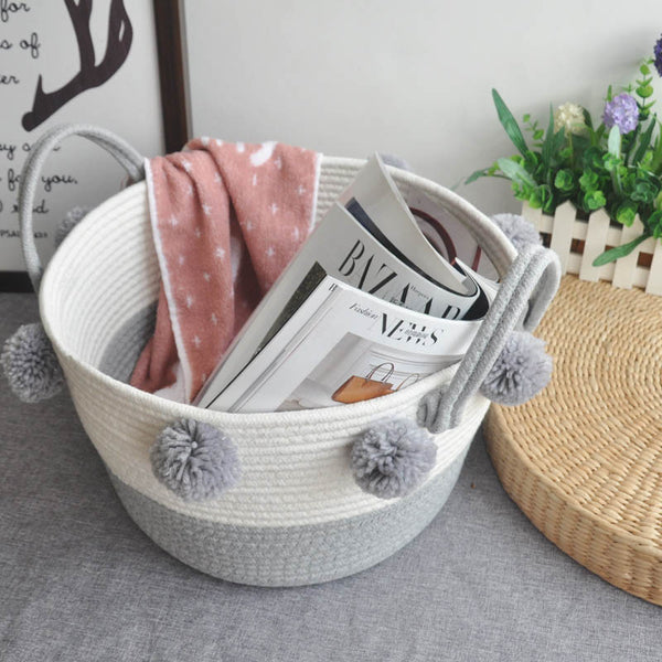 Cotton Rope Dirty Clothes Laundry Storage Basket with Ball Organizer for Kids Toy Snack Magazine Nursery Hamper Home Accessories