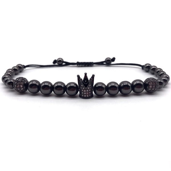 Skull Men Bracelet Pave CZ New Fashion Luxury Crown Bracelet Copper Beads Braided Bracelet Men Women Jewelry Gift