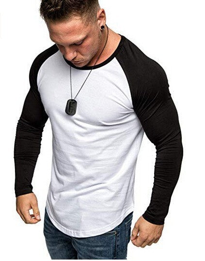 Color Splicing Sleeve men t shirt Streetwear Curved Hem long sleeve t-shirt men Slim Fit Male tshirt
