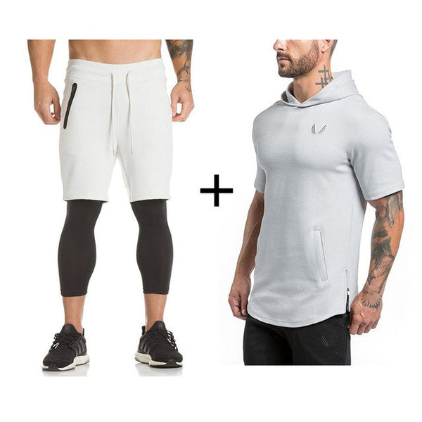 Mens Gyms Sportswear Suit Tight Workout Elasticity Casual Short Sleeve Hoodies+Shorts Cotton Trainings Fitness SportSuit