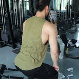 Men's Sleeveless Vests New Absorb Sweat Solid Color Round Collar Breathable Tank Tops Bodybuilding Workout Singlet