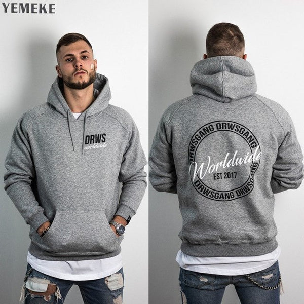 men's hoodies fitness sports leisure loose print coat high quality fabric comfortable men hoodies
