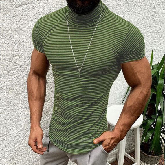 men t shirt Heap turtleneck collar t-shirt for men Stylish streetwear male tshirt