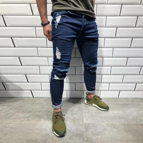 Cotton Jeans Men Spring Men Clothes Trend Knee Holes Zippers Small Feet And Pants Casual Trousers Stretch Ripped Jeans