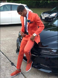 Latest Coat Pant Designs Orange Men Suit Casual Slim Fit 2 Piece Tuxedo Tailor Groom Prom Party Blazer Masculino Jacket+Pant New