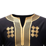 Classic V Neck Longline T Shirt Men  Fashion African Dashiki Print T-shirt Men Hip Hop Streetwear Tops Tees African Clothes