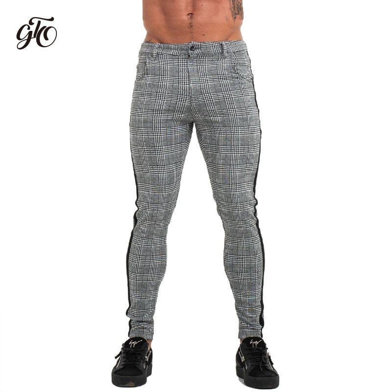 Mens Slim Fit Skinny Pants For Men Chino Trousers Plaid