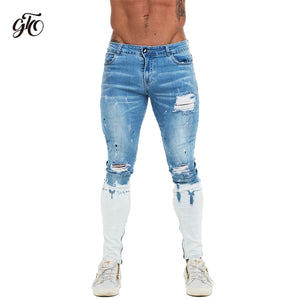 Mens Skinny Jeans Blue Ripped Skinny Jeans Men Super Stretch Faded