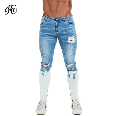 Mens Skinny Jeans Blue Ripped Skinny Jeans Men Super Stretch Faded Color New Design