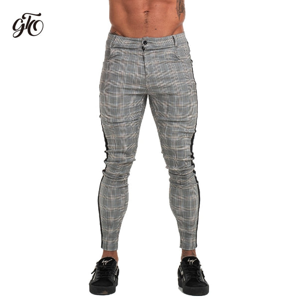 Mens Slim Fit Skinny Pants For Men Chino Trousers Plaid Design Fashion Grey With Stripe at Side 28-36