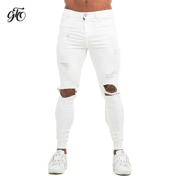 Mens Jenas Brand Super Spray on Sskinny jeans men white  Elastic Waist Europe Size Athletic Body Type Street Fashion