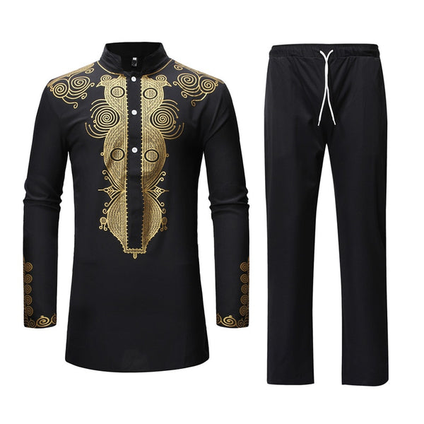 Black African Dashiki Print Top Pant Set 2 Pieces Outfit Set Traditional Men African Clothes Casual African Suit for Men