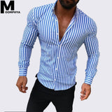 Moomphya New Arrived Stripes male shirt Slim Fit men shirt long sleeve Streetwear hip hop men's shirts