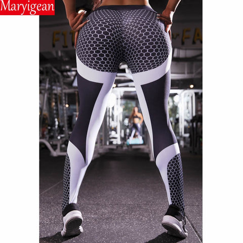 Mesh Pattern Print Leggings Fitness Leggings For Women Sporting Workout Push Up Leggins Elastic Slim High Waist Pants