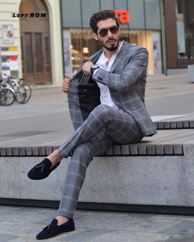 Spring Suit Suits Slim Plaid British Suit Three-piece Suit Two Colors Apricot and Gray Plaid