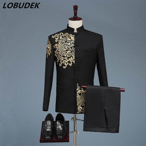Black White Men's Suits Chinese style Gold Embroidery Blazers Prom Host Stage Outfit Male Singer Teams Chorus Wedding