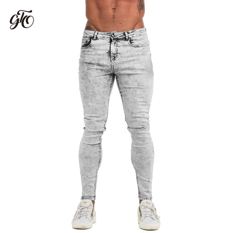 Skinny Jeans Men Light Grey  Brand Mens Jeans Big Sizes Slim Fit Pants For Man Ankle Tight Fit Plus Size zm71