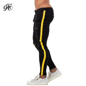 Skinny Jeans Men Yellow Stripe Mens Skinny Biker Jeans Denim Super Spray on Factory Direct Supply Dropshipping Big Size zm68