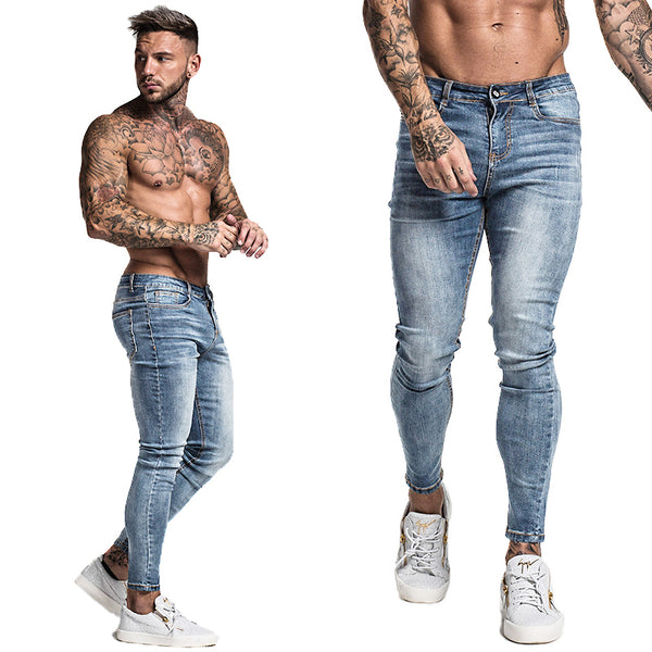 Mens Skinny Jeans Super Skinny Jeans Men Non Ripped Stretch Denim Pants Elastic Waist Big Size US