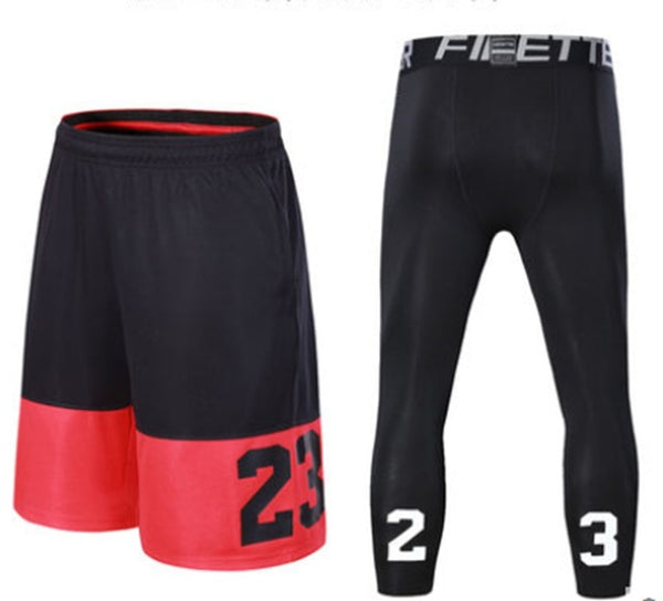 Top Quality Sport Men Basketball Shorts Professional Running Shorts Loose Breathable Tight Training Suit Jogging Shorts Sets