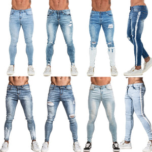 Mens Jeans Slim Fit Blue Denim Skinny Jeans Mens Stretch Pants Athletic Body Type Design Elastic Waist Plus Size W28-W36 zm65