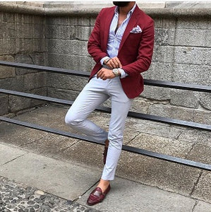 Burgundy Red Suit Blazer Men Tuxedo Suit Jacket Men Suits for Wedding Slim Fit Custom Suit Men 2 Piece with Pants Custom Made