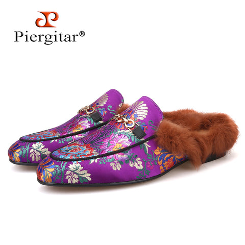 new style Handmade men's silk slippers Fashion party and wedding Fur men loafers plus sizes male smoking slippers