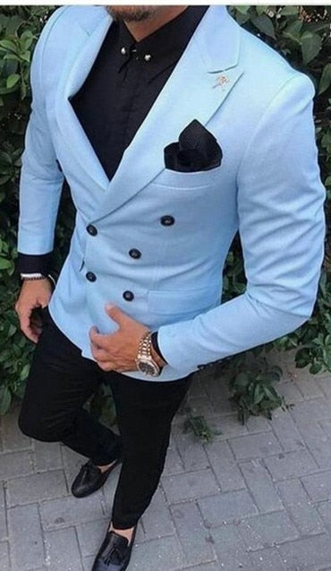 Men Suits Light Blue Wedding Tuxedos For Men Slim Fit Mens Suit Clothing Shawl Collar Business Casual Grooms Wear Costum