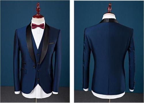 Custom Slim Fit Peak Lapel Best Man Suit Blue Groomsman Men's Wedding Prom Suits