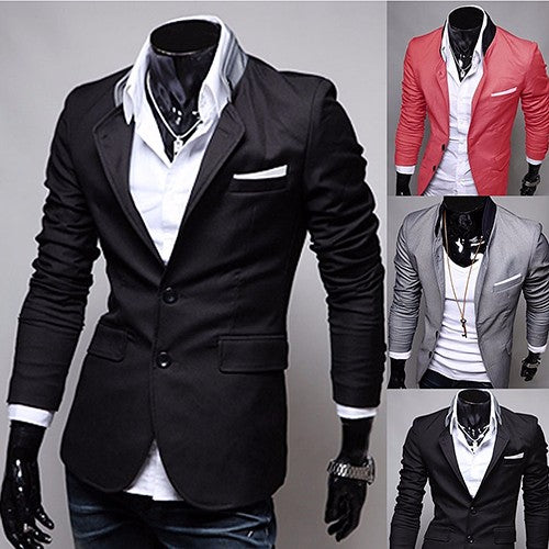 Men's Casual Two Buttons Stand-up Collar Suit Fashion Plus Size Business Suit Coat