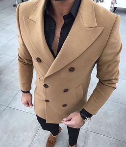 Brown Khaki Tweed Men Suit Slim fit Winter Tuxedo Prom Wedding Blazer Style Gentle Tailor Made 2 Piece Terno