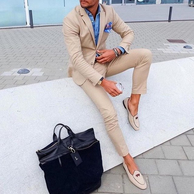 Fashion 2 Pieces Khaki Slim Fit Mens Suits (Jacket+Pants) Groom Tuxedos Groomsman Best Man Suit Wedding Suits for Men
