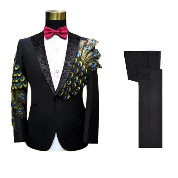 Mens Wedding Suits Slim Fit Groom Black Peacock Beading Embroidery Tuxedo men Suit Stage Performance Jacket With Pants