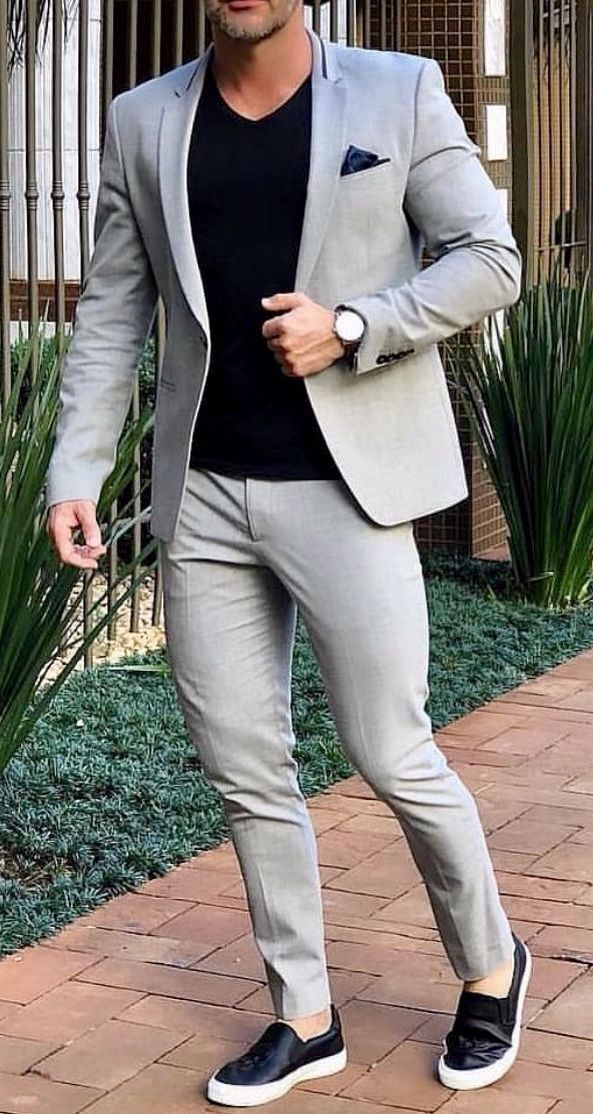 Wedding Attire For Men.Grey Smart Casual Street Men Suit For Wedding Suit Men Blazer Coat Jacket Party Prom Slim Fit Tuxedo Suit With Pants Custom Made