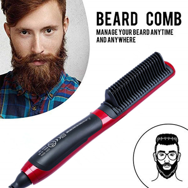 Hair Curling Iron Men's All In One Ceramic Hair Styling Iron Comb Beard Straightener Curler Set Quick Hair Styler for Men