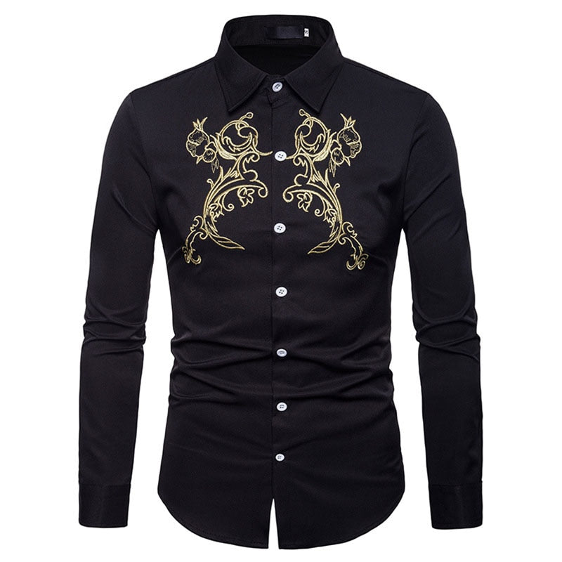 Luxury Embroidery Shirt Men Autumn New Slim Long Sleeve Dress Shirt Mens Casual Button Down Dress Shirts for Business Man