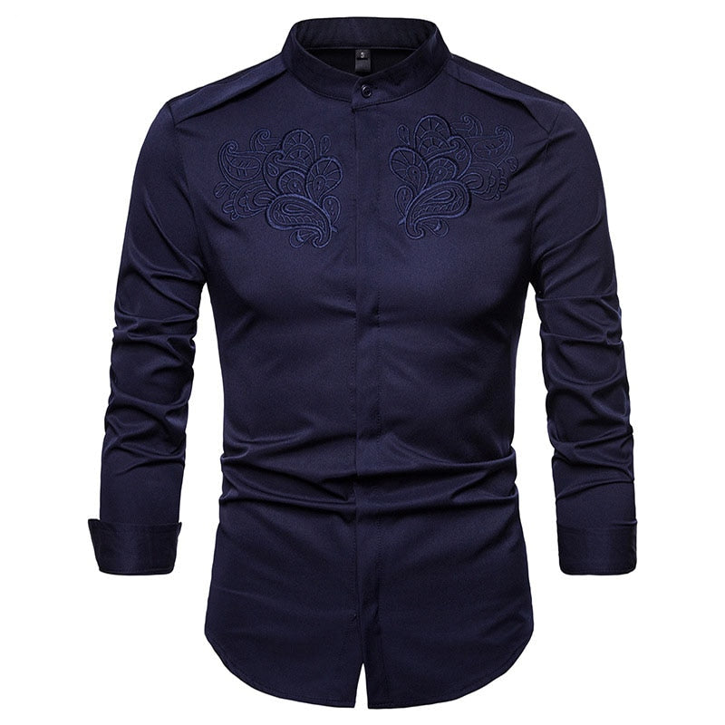 Luxury Floral Embroidery Henley Shirt Mens Brand New Slim Fit Long Sleeve Chemise Homme Formal Business Casual Dress Shirts
