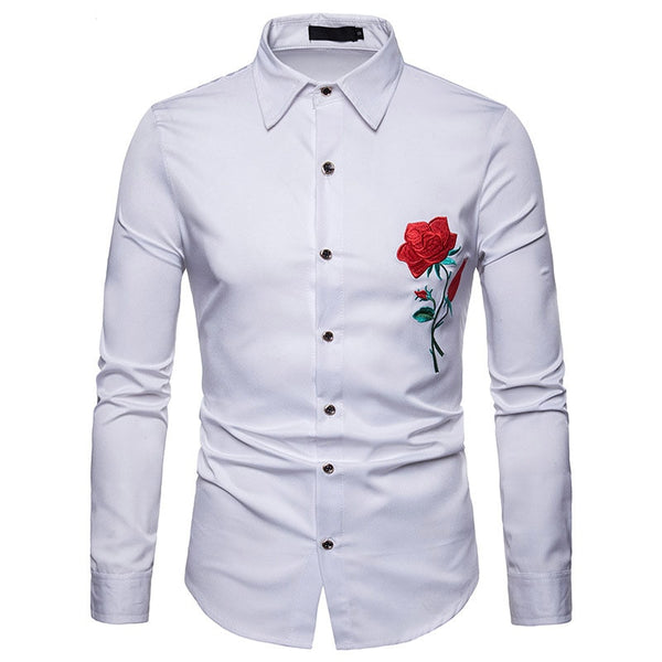 Rose Floral Embroidery Shirt Men Brand New Long Sleeve Shirt Mens Casual Button Down Dress Shirts Wedding Tuxedo Shirt XXL