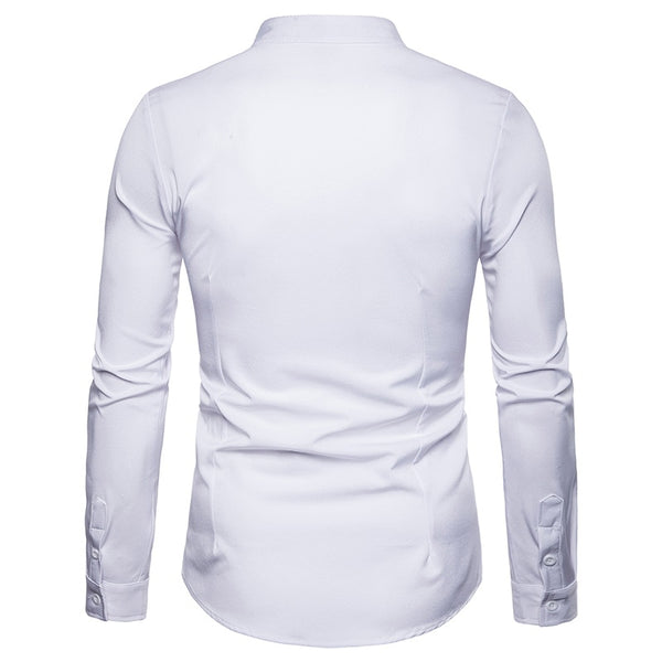 Luxury Embroidery Henley Shirt Men  Brand New Mandarin Collar Long Sleeve Dress Shirt Men Work Business Casual Social Shirts
