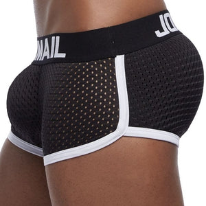 Breathable Mesh Enhancing Padded Hip Sexy Boxer Men Underwear Removable Enhancement Two Butt Pads and gay penis Pad
