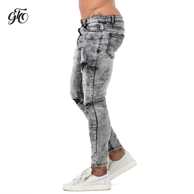 Pants Men Skinny Jeans Men Grey Distressed Denim Ripped Stretchy Jeans Fashion Brand Stonewashed