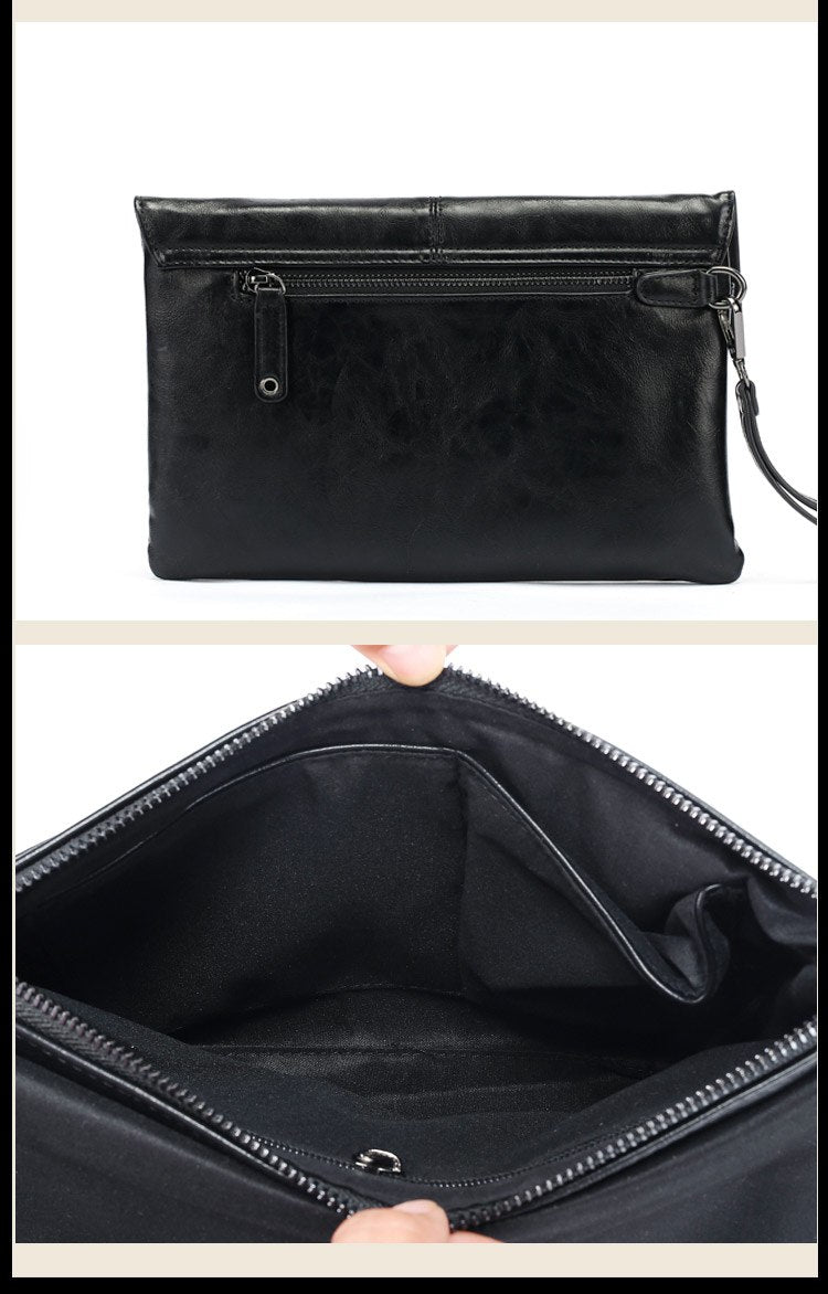 Men's  Business Casual bag Soft Black PU Leather Men's Fashion Clutches Envelope Bag Free Shipping