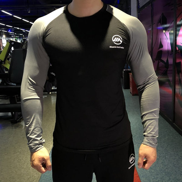 Men Fashion Autumn Bodybuilding New Long Sleeve O-Neck Slim Fit T Shirt Patchwork Casual Gyms Fitness Tee Tops Streetwear